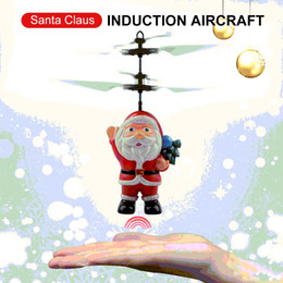 Electric Infrared Sensor Flying Santa Claus Induction aircraft Toys RC Helicopter Drone Toy Kids Christmas Gifts 50PCS on Sale