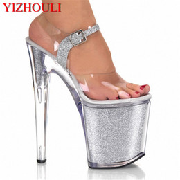 men pole dancing Canada - Shiny Rhinestones 20CM Super Sexy High-Heeled Platform party Pole Dance Performance 8 inch Crystal Wedding Shoes