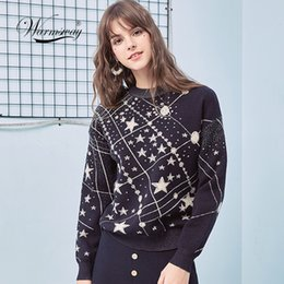 Discount galaxy jumpers - Retro Galaxy Star Pattern Sweater Women Vintage Long Sleeve Jumpers 2019 Autumn Winter Ladies Jacquard Sweaters Pullover