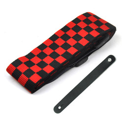 """Red Cotton Check Leather Head Guitar Strap 2"""" Wide + Leather Guitar Head Stock Strap on Sale"""