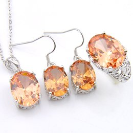 $enCountryForm.capitalKeyWord NZ - 3Pieces 1 Set Classic Holiday Jewelry Oval Morganite Crystal Zircon 925 Sterling Silver Plated Pendants Rings Dangle Earrings Jewelry Set