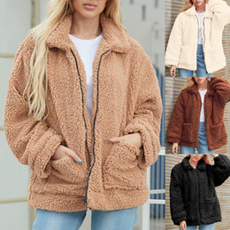 Wholesale jacket shearling for sale - Group buy Vertvie Women Casual Warm Faux Shearling Coat Jacket Autumn Winter Long Sleeve Lapel Fluffy Fur Outwears Solid Turn down Coolars