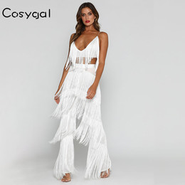 Women Red Romper Jumpsuit NZ - Cosygal Spaghetti Strap Women Romper Jumpsuit Romper Tassel Sleeveless Red Sexy Long Playsuits Elegant V Neck Solid Playsuits Y19062201