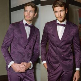 plaid design NZ - Fashion Men Suits Puple Print Check Design Suits 2 Pieces Double Breasted Groom Wedding Formal Tuxedos Custom Made Business Men Wear