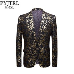 Suits Blazers Pattern Australia - Pyjtrl New Mens Plus Size 5xl Gold Pattern Casual Slim Fit Blazer Dj Club Stage Singer Party Costume Wedding Groom Suit Jacket J190420