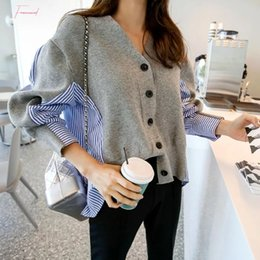 Wholesale cardigan sweater women stripes for sale - Group buy Patchwork Sweater Button Cardigan Laine Lovely Jumper V Neck Black Grey Sweaters Casual Women Autumn Knitting Stripe Female Tops