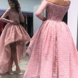 $enCountryForm.capitalKeyWord Australia - Gorgeous Hi-Lo Pink Ball Gowns Prom Dresses Off Shoulder Full Lace Long Sleeves Sweep Train Dresses Evening Wear Formal Party Gowns