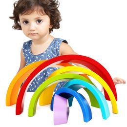 Infant Blocks Australia - Qwz 7pcs set Colorful Wooden Creative Rainbow Assembling Blocks Infant Children Educational Baby Unisex Toys Gifts Q190530