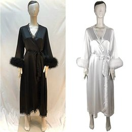 Discount sheer black nightgown - Women Sexy Fur Robe Sheer Long Lingerie Robe Nightgown Bathrobe Pajamas Sleepwear Nightdress Chiffon Bridal Peignoir