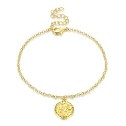 Bracelet Pendants Sun Australia - Fashion Women Sun God Carved Pendant Bracelet Exquisite Round Drop Bracelet Gold Color Bronze Link Chain Lobster Claps Jewelry