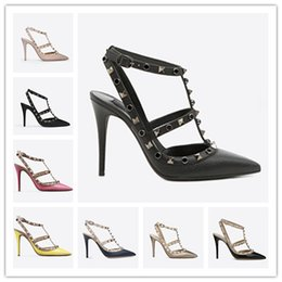 cb37ccfb35 women high heels dress shoes party fashion rivets girls sexy pointed toe  shoes buckle platform pumps wedding shoes black white pink color3
