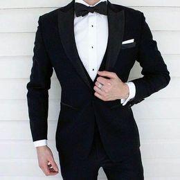 Piece Suits For Men Formals Australia - Custom Made Black Coat Pants Men Suits For Wedding Man Suits Blazers Plus Jacket Formal Groom Tuxedos 2Piece Business Suit Costume Homme