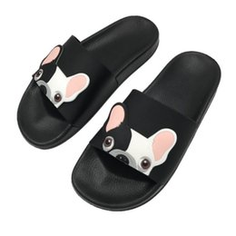 canvas dog shoes UK - Women Slides Cute Dog Female Slippers Cartoon Fashion Pu Leather Beach Shoes Women Flip Flops Barefoot Slippers Zapatillas Mujer