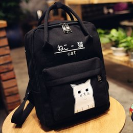 adb7f5ffa8 Girl s Cute Cat Printing Canvas School Backpack Concise College Style Bag  Fashion Teenager s Bag