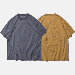a8381b38faeb ACW Short Sleeve T-shirt High Quality Distressed Tee Men Hip Hop Streetwear  Top A Cold Wall Embroidery T-shirts Khaki Grey CLI0328