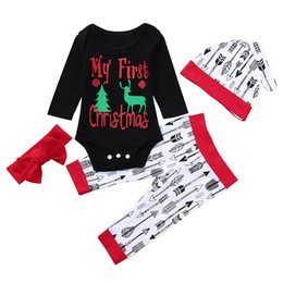 $enCountryForm.capitalKeyWord Australia - good quality Infant Baby Christmas clothes 4PCs Long Sleeve Letter Print Jumpsuit Romper Pants Outfit roupa infantil menino conjunto