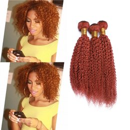 Curly Human Hair For Weaves Canada - Orange Color Afro Kinky Curly Hair Extension 3Pcs For Woman Malaysian Virgin Human Hair Weaves Kinky Curly Orange Human Hair Weft