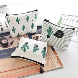 old fashion stationery Australia - Fashion Canvas Cactus Pencil Case Bag Stationery School Supplies Cosmetic Makeup Pouch 6 Colors Free Shipping
