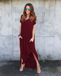 stylish ladies clothes NZ - Dress women summer long maxi solid Clothes Stylish Pullover Dresses A type knit Casual Long Dress Short Sleeve Backless Lady Clothing Pocket