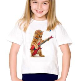 $enCountryForm.capitalKeyWord Australia - Fashion Animal Print Music Wolf Kid's T Shirt Summer Tops Short Sleeve Funny Punk Guitar Cat Boys T-shirts Cute Children Clothes