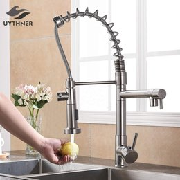 pull out spring faucet Canada - Uythner Brushed Nickle Basin Kitchen Faucet Pull Out Dual Spouts Spring Brass Kitchen Faucet Hot and Cold Mixer Tap Deck Mounted