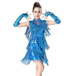 Wholesale brown sequin dance dress resale online - Sexy Sequin Tassel Latin Dance Dress Women Sleeveless Latin Dance Performance Clothing Competition Dresses