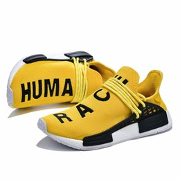 human race tennis shoes NZ - Pharrell Williams PW Human Race Trail x Luxury Men Tennis Shoes Hu Human Species Equality Pale Nude Core Black Orange Womens Mens Trainers
