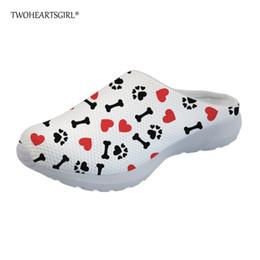 53ee721d5d8e Red Heart Sandals UK - Twoheartsgirl White Heart Pattern Dog Paws Print  Mesh Slippers for Women