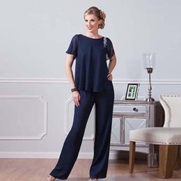 $enCountryForm.capitalKeyWord Australia - 2019 Navy Blue Chiffon Pants Suits For Mother Of The Bride Jewel Neckline Cheap Dresses Party Evening For Wedding Mothers Guest Dress