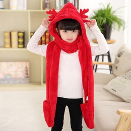 $enCountryForm.capitalKeyWord Australia - Autumn and Winter New Kids Scarf Hat Gloves Three Sets of Parent-child Models Sweet and Lovely Christmas Deer Plus Velvet Scarf DHL 916X30