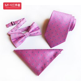 $enCountryForm.capitalKeyWord Australia - Premium Light Blue Background Color Gold Dot Ties&Bow Tie&Hanky Set Silk Jacquard Elegant Daily Wear Accessories