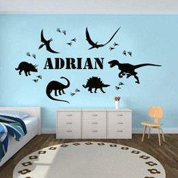 $enCountryForm.capitalKeyWord Australia - Dinosaur Footprint Personalized Name Vinyl Wall Sticker Home Decor Boys Room Decal Custom Removable DIY Mural