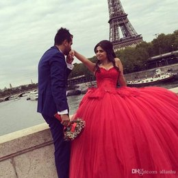 $enCountryForm.capitalKeyWord Australia - Cheap Sweetheart Neck Red Ball Gown Quinceanera Dresses Tulle Sweet 15 16 Birthday Pageant Dresses with Appliqued Overlay Skirt