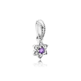 Wholesale CHAMSS Years New Sterling Silver Forget Me Not Purple Dangle Pendant DIY Fashion Anniversary Gift ACZ
