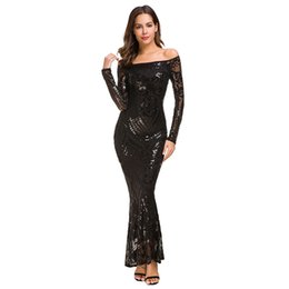 $enCountryForm.capitalKeyWord UK - Winter Temperament Paillette Lace Fish Tail Full Dress Banquet Evening Dress ( Two Color )