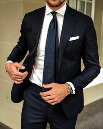 Dark Blue Suits Australia - Dark Blue Men Suits Groom Wedding Tuxedos Notched Lapel Formal Business Office Suits Man Blazer Jacket 2Piece Costume Bridegroom Jacket