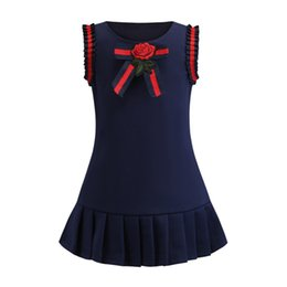 Embroidery Skirt Dresses UK - Retail girls dress baby girl bowknot flowers embroidery college wind skirts kids knit cotton vest skirt children boutique fashion clothing