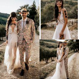 $enCountryForm.capitalKeyWord NZ - Rustic lace Bohemian Country Wedding Dress Sexy Plugging Neckline Thigh Split Illusion Boho Bridal Gowns Vintage Cheap robe de mariée 2019