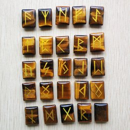 $enCountryForm.capitalKeyWord Australia - Wholesale 25pcs lot Natural tiger eye Stone Viking Runes Amulet Set Reiki Healing Crystals Divination Tumbled rectangle Stones