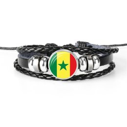 Wholesale World cup football flags online shopping - Senegal National Flag World Cup Football Fan Time Gem Glass Dome Braided Leather Rope Beaded Bracelets for Men Women Jewelry Christmas Gifts