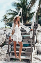 Hollow Shirt Australia - New women's sexy lace long-sleeved deep V dress hollow embroidery shirt beach skirt summer travel breathable comfortable dress fashion