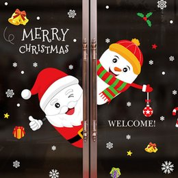 happy christmas sticker for wall NZ - Merry Christmas Removable DIY Santa Claus Snowman Cartoon Wall Stickers For Shop Window Glass cabinet Happy New Year Home Décor
