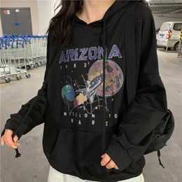 space sweatshirts Canada - Autumn and Winter Cotton Nostalgia Old Planet Printed Harajuku Spaceship Arizona Space Print Black Hooded Sweatshirt Hoodie