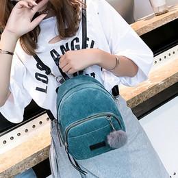 Styles Backpacks Australia - Fashion Korean Style Mini Backpack Velvet Female Mini Bag Women Girls School Backpack Sweet Pom Pom Zipper Solid Bag