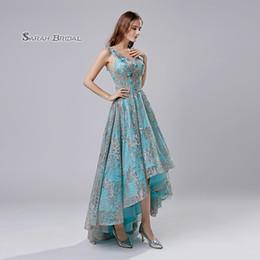 Modern hi lo wedding dress online shopping - Sky Blue Lace A Line Hi Lo Quinceanera Prom Party Dress Beach Elegant Vestidos De Festa Evening Occasion Sleeveless Formal Wear LX524