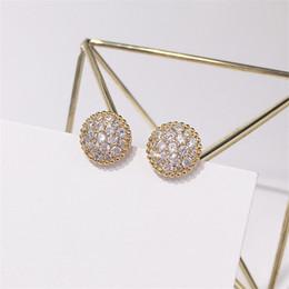 Discount stud diamond earrings design - Luxury Full Diamond Earring Women Hot Fashion Design Stud Earrings Ladies Designer Rose Gold Silver Earrings Fine Jewell