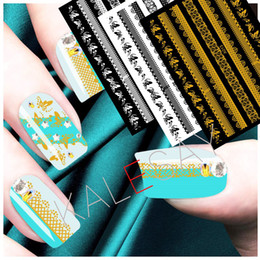 $enCountryForm.capitalKeyWord NZ - Nail Art Stickers Manicure Design Decoration Flowers Black White Gold Stickers for Nail Decoration Back Glue Nails Art Decals