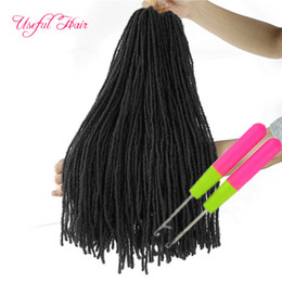 hair sisters NZ - Dreadlocks DIY Crochet Hair Extensions Synthetic Hair Weave Ombre Blonde 18Inch Braiding Hair Sister Micro Locks Straight 27strands hooks