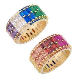 Copper Full Finger Rings Australia - Luxury 2019 New Arrived Colored Ring Two Raw Cz Eternity Band Engagement Full Finger Gorgeous European Rings C19041704