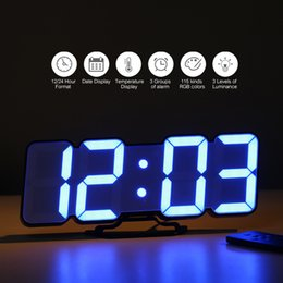 desktop calendars NZ - 3D Wireless Remote Digital Wall USB Display LED Alarm With Temperature Date Sound Control Desktop Clock Y200109